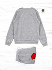 Grey Embroidered Stretch Waistband Two Piece Outfits