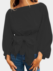 Black Bowknot Design Round Neck Long Sleeves Blouses
