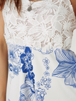White Lace Insert Spaghetti Straps Floral Print Playsuit