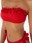 Red Sexy Flower Design Tie-up Backless Bandeau Bikini