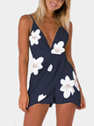 Navy Deep V-Neck High-waist Random Floral Print Playsuit With Shoulder Straps