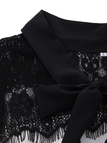 Black Lace Details Lace-up Design Round Neck Long Sleeves Sexy Mini Dress