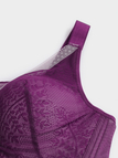 Plus Size Purple Lace Wireless Padded Bra