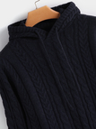 Navy Cable Knit Plain V-neck Long Sleeves Hooded Sweaters