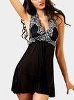 Halter Backless Design Lace Insert Pajamas Dresses in Black with T-back