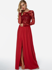 Red See Through Crew Neck Sequins Embellished Maxi Dress