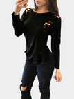 Sexy Black Round Neck Ripped T-shirt With Long Sleeves