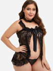 Plus Size Black Lace Detail Babydoll With Thong