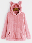 Pink V-neck Long Sleeves Double-faced Plush Hoodie