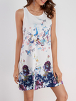 White Floral Pattern Round Neck Sleeveless Dress