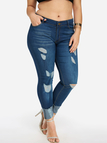 Plus Size Dark Blue Ripped Middle-waisted Jeans
