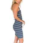 Strip Design Invisible Center Back Zipper Stretchy Lattice Straps Twisted Knit Dress