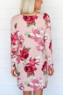 Pink Oversize Criss-cross Front Floral Print V-neck Dress