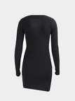 Black Lace-up Design Deep V-neck Long Sleeves Sexy Ribbed Dress