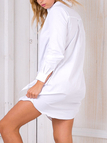 White Classic Collar Buttons Front Long Sleeves Shirt Dress