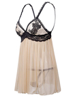 Nude Tease Floral Lace Mesh Slip Pajamas Night Dress with G-strings