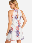 White Cut Out Back Random Floral Print Mini Dress