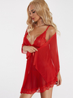 Red See-through Lace Insert Pajamas Dress with T-back and Cape