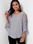 Grey Cold Shoulder Pleated Self-tie 3/4 Length Sleeves Blouse