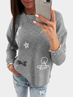 Grey Embroidery Pattern Round Neck Sweatshirt
