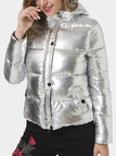 Silver Hooded Cotton-padded Plain High Neck Long Sleeves Coat