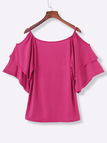 Watermelon Red Tiered Design Cold Shoulder Half Sleeves T-shirts