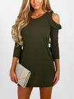 Army Green Round Neck Frills Cold Shoulder Mini Dress