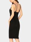 Black Sexy Deep V Sleeveless Adjustable Spaghetti Strap Party Dress