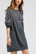 Grey Random Calico Long Sleeves Mini Dress