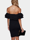 Off-the-shoulder Frill Party Dress in Black