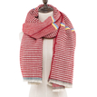 Red Wrap Scarf With Geometric Print