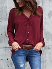 Burgundy Plain Classic Collar Long Sleeves Shirt