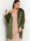 Green Plain Long Sleeves Faux Fur Coat