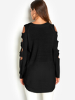 Black Cut Out Plain Crew Neck Long Sleeves Slit Hem Sweaters