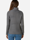 Grey Plain Roll Neck Long Sleeves Loose Fit Sweaters