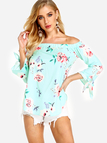 Green Off-The-Shoulder Random Floral Print Top