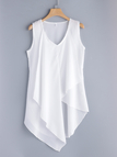 White Tiered Design V-neck Sleeveless Tank Top