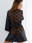 Black See-through Night Robe with T-back