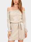 Beige Off Shoulder Self-tie Mini Dress
