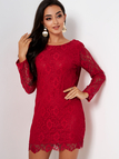 Red Lace Backless Design Long Sleeves Mini Dress