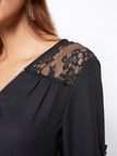 Black Zip Front Adjustable Sleeves Length Lace Blouse