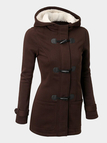 Khaki Button Fastening Hooded Fashion Coat with Pockets