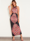 Black Halter Backless Printed Fashion Long Dress