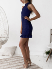 Navy Lace Cut Out Design High Neck Sleeveless Dress