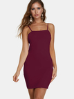 Burgundy Spaghetti Off Shoulder Bodycon Mini Party Dresses