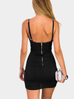 Black Sexy V-neck Backless Design Dress with Cut Out Design