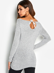 Grey Hollow Details Self-tie Design Geometrical Round Neck Long Sleeves Sweaters