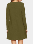 Army Green Cold Shoulder Long Sleeves Mini Dresses
