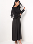 Black Lace Overlay Muslim Maxi Dress