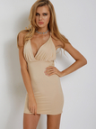 Plunge Wrap Front Cross Strap Backless Cami Midi Dress